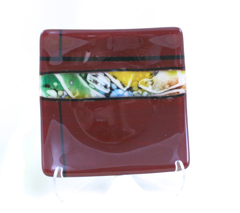 Kristy Sly Glass Red 5 by 5 Square Plate