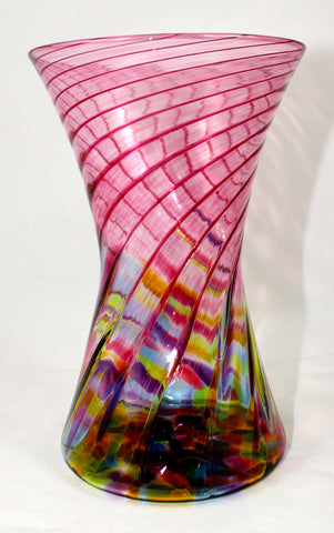 Glass Eye Studio Cranberry Rainbow Hourglass Vase