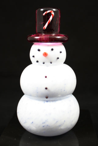 Thames Art Glass Candy Cane Charlie Snowman