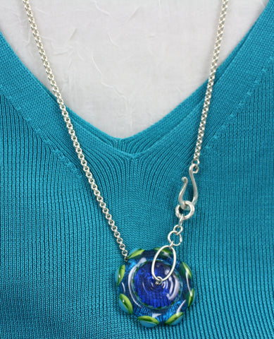 Cecillia Labora Studio Flamework Glass Teal/Lime Necklace