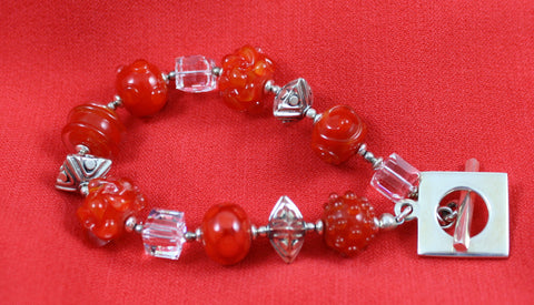Cecillia Labora Studio Flamework Glass Red and Crystal Bracelet