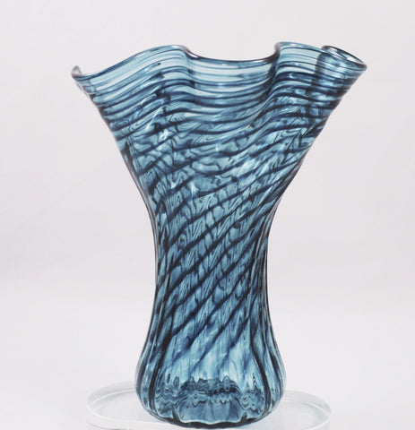 Glass Eye Studio Teal Ripple Mini Vase