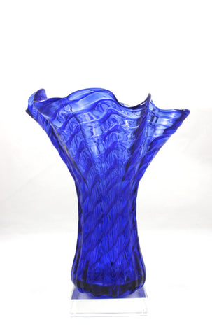 Glass Eye Studio Cobalt Ripple Ruffle Vase