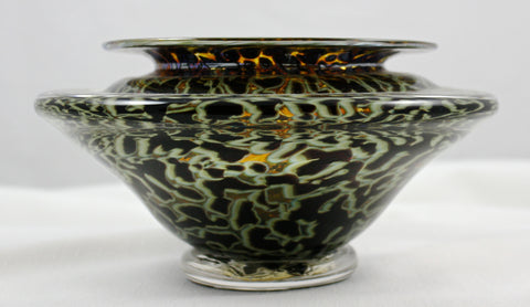 Gartner/Blade Art Glass Bowl for the art of Ikebana  Black