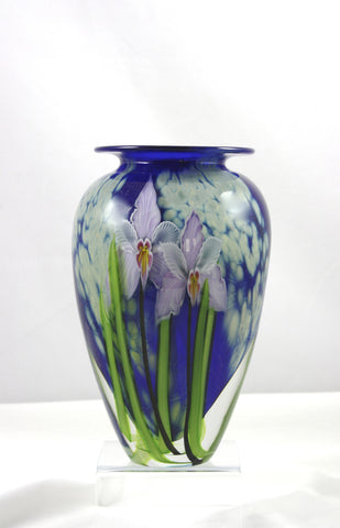 Mayauel Ward Art Glass Tropical Violet Orchid Vase