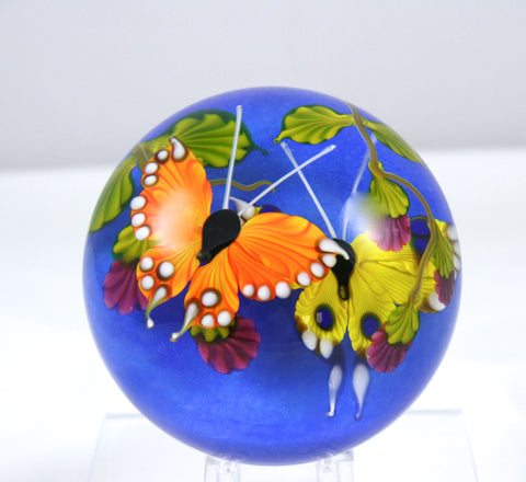 Mayauel Ward Art Glass Blue Double Butterfly Paperweight