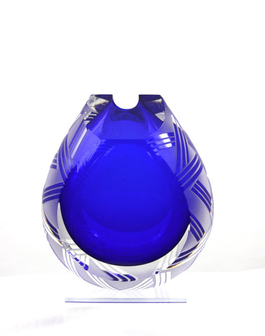 Correia Art Glass Elite Etched Cobalt Geometric Vase