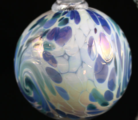 Glass Eye Studio Classic Ornament Blue Hydrangea Feather
