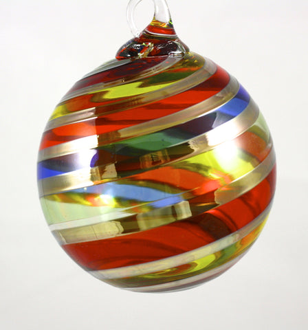 Glass Eye Studio Designer Ornament Rainbow Platinum Twist