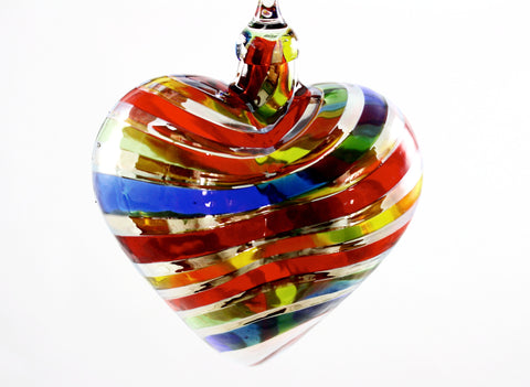 Glass Eye Studio Designer Rainbow Platinum Heart Ornament