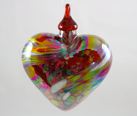 Glass Eye Studio Classic Red Feather Twist Heart Ornament