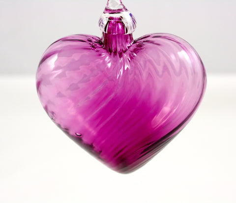 Glass Eye Studio Classic Purple Twist Heart Ornament