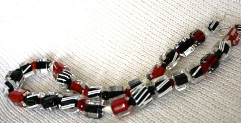 Penrose Design Jumbo Red, Black and Pearl Necklace