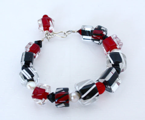 Penrose Design Jumbo Red, Black and Pearl Bracelet