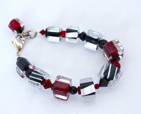 Penrose Design Jumbo Red, and Black Bracelet