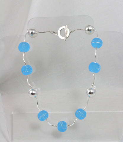 Cecillia Labora Studio Flamework Glass Jewelry Blue Necklace