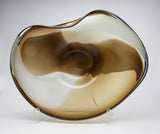Nicholson Blown Glass Wave Series Bowl - Dark Topaz, Bone, White