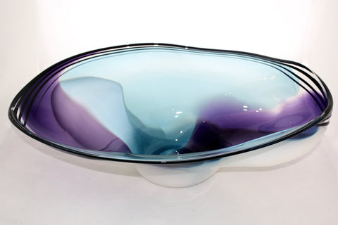 Nicholson Blown Glass Wave Series Bowl - Amethyst, Aqua, White