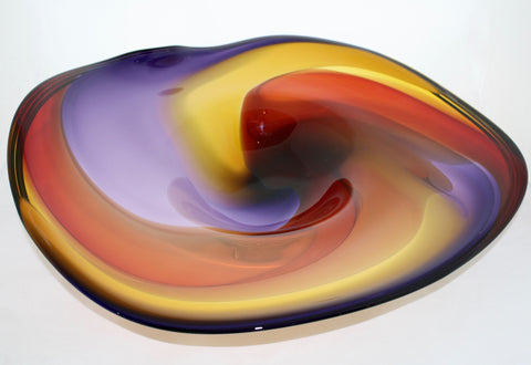 Nicholson Blown Glass Wave Series Footed Bowl - Amethyst, Gold/Topaz, Cherry