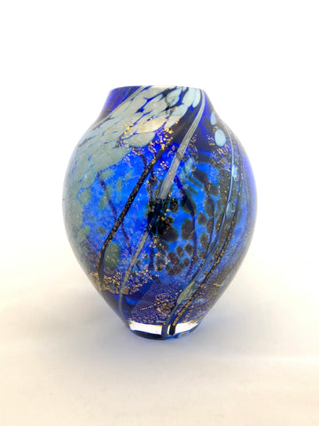 Lazer Art Glass Cobalt Small Bud Vase