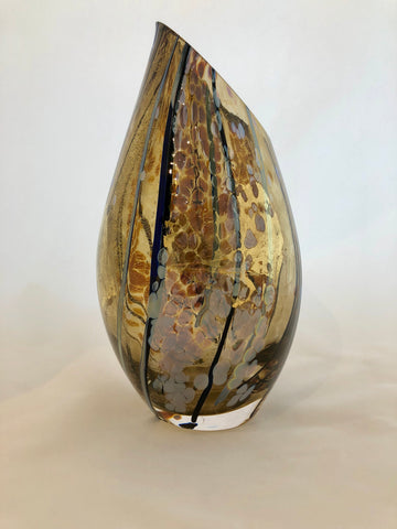 Lazer Art Glass Jade & Gold Slash Cut Vase