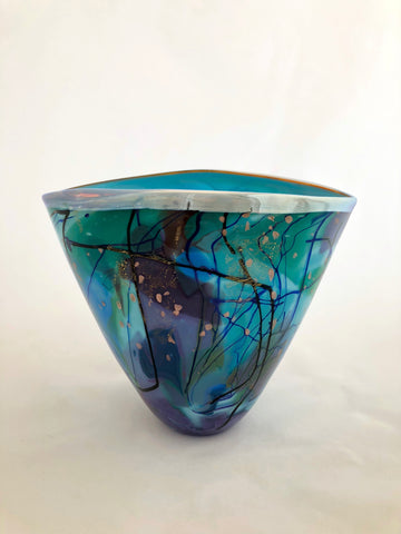Lazer Art Glass Turquoise Splash Vase
