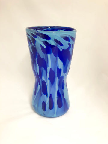 Eisenstat Glass Blue Hourglass Vase with Dark Blue Cane