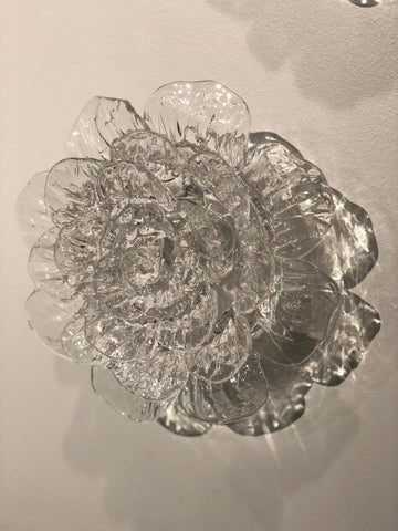 Anna Lou Glass Grande Blown & Hot Sculpted Clear Glass Flower