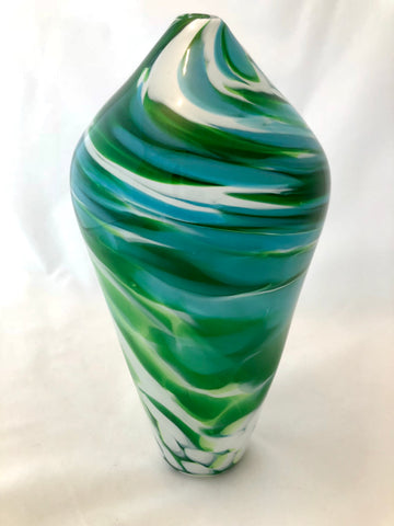 Eisenstat Glass Green & White Swirl Vessel