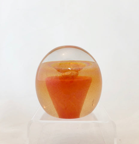 Edward Kachurik Art Glass Orange Paperweight