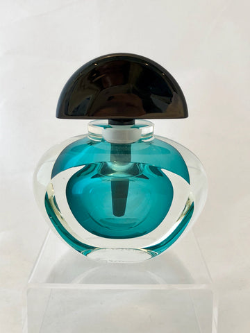 Correia Art Glass Emerald Geometric Perfume Bottle