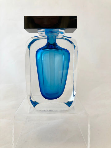 Correia Art Glass Aqua Geometric Perfume Bottle