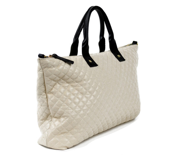 Ivory Leather Quilted Tote