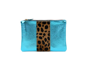 Flat Small Clutch in Turquoise