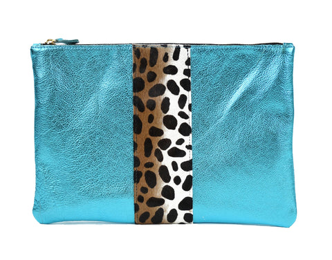 Flat Clutch in Turquoise
