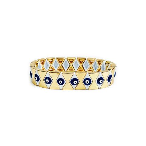 Evil Eye Bracelet - Goldish / White