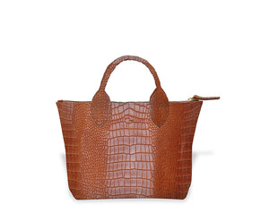Brown Crocodile Mini Tote