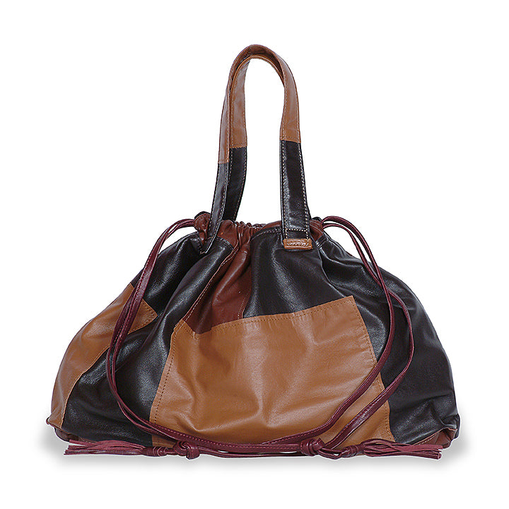Elton Hobo Patchwork Bag in Brown