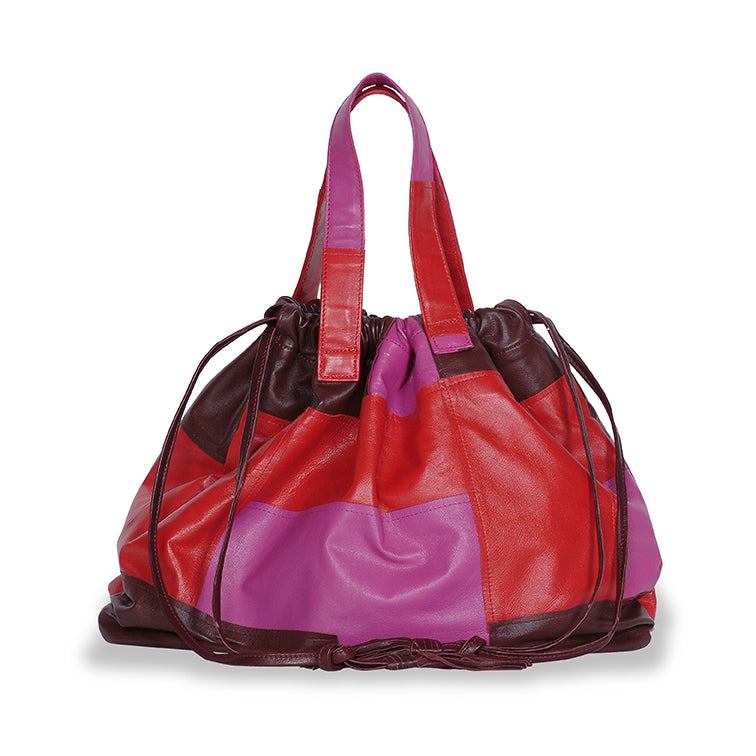 Elton Hobo Patchwork Bag in Red