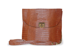 Brown Crocodile Crossbody