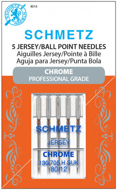 Chrome Jersey Schmetz Needle 5 ct, Size 80/12 - 4014