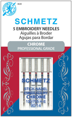 Chrome Embroidery Schmetz Needle 5 ct, Size 90/14 - 4020