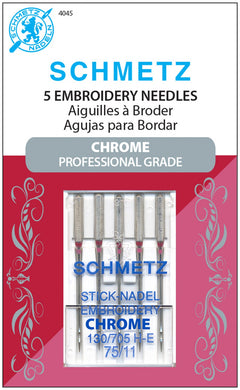 Chrome Embroidery Schmetz Needle 5 ct, Size 75/11 - 4045
