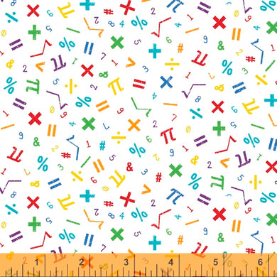 Windham Fabrics:  It's Elementary - Math 52041 - 4 White/Multi