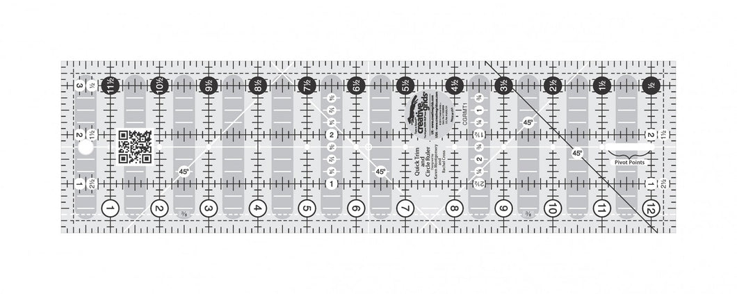 Creative Grids Quick Trim Ruler 3-1/2in X 12-1/2in Rectangle - CGRMT1