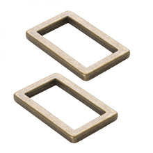 Load image into Gallery viewer, byAnnie: Rectangle Ring Flat 1in Antique Brass Set of Two