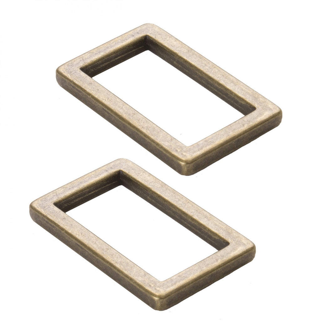 byAnnie: Rectangle Ring Flat 1in Antique Brass Set of Two
