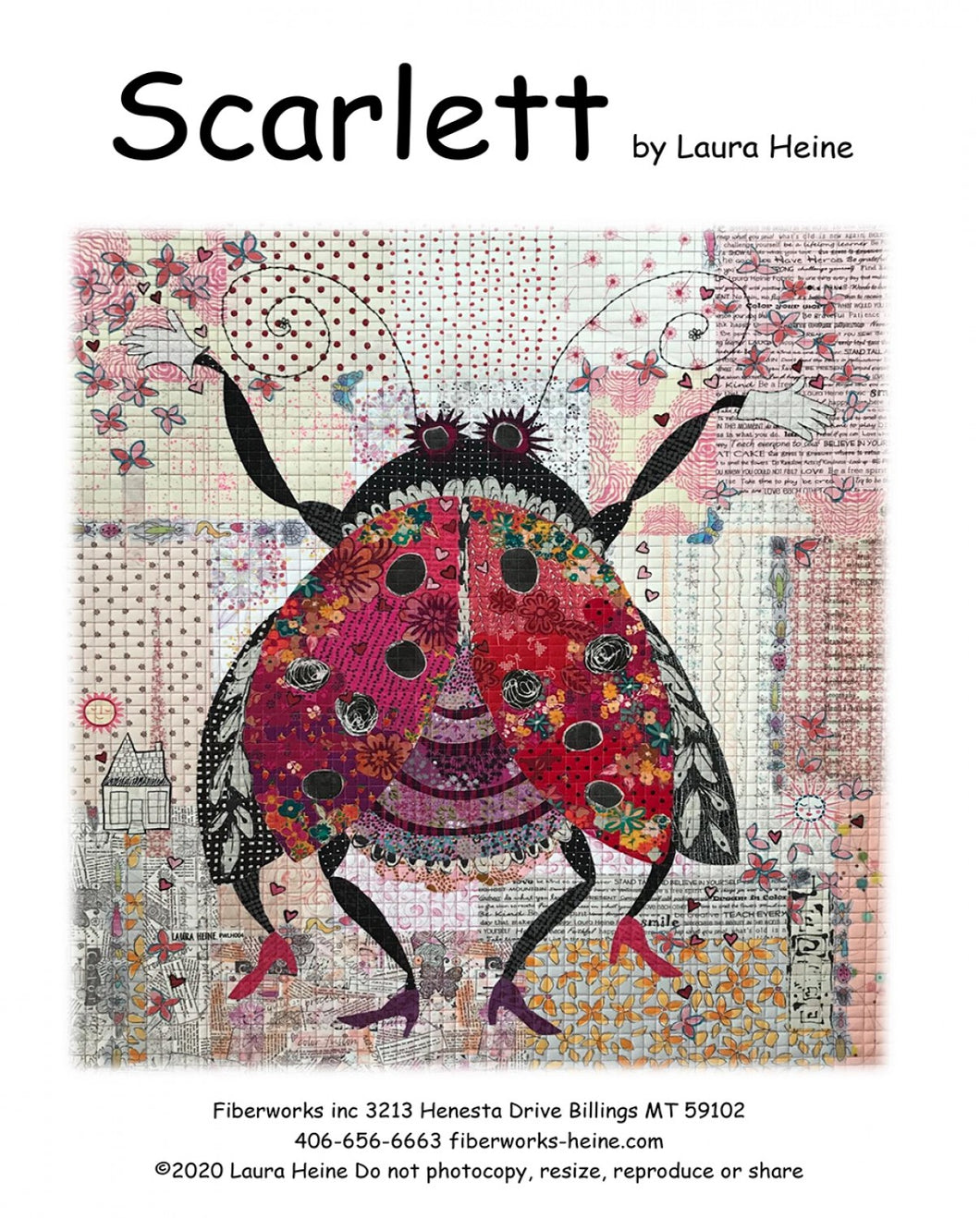 Laura Heine Patterns –Scarlett. The Ladybug Collage Pattern - LHFWSCARLETT