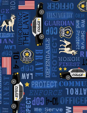 Timeless Treasures Fabrics:   Police Words