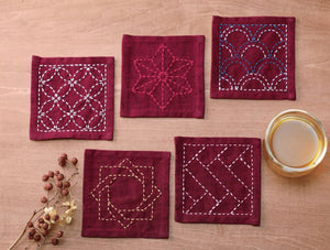 Sashiko Tsumugi Sampler Coasters Deep Red - SCTC3